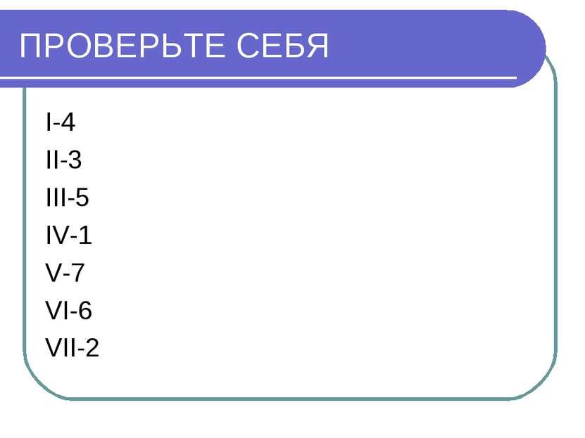 ПРОВЕРЬТЕ СЕБЯ I-4 II-3 III-5 IV-1 V-7 VI-6 VII-2