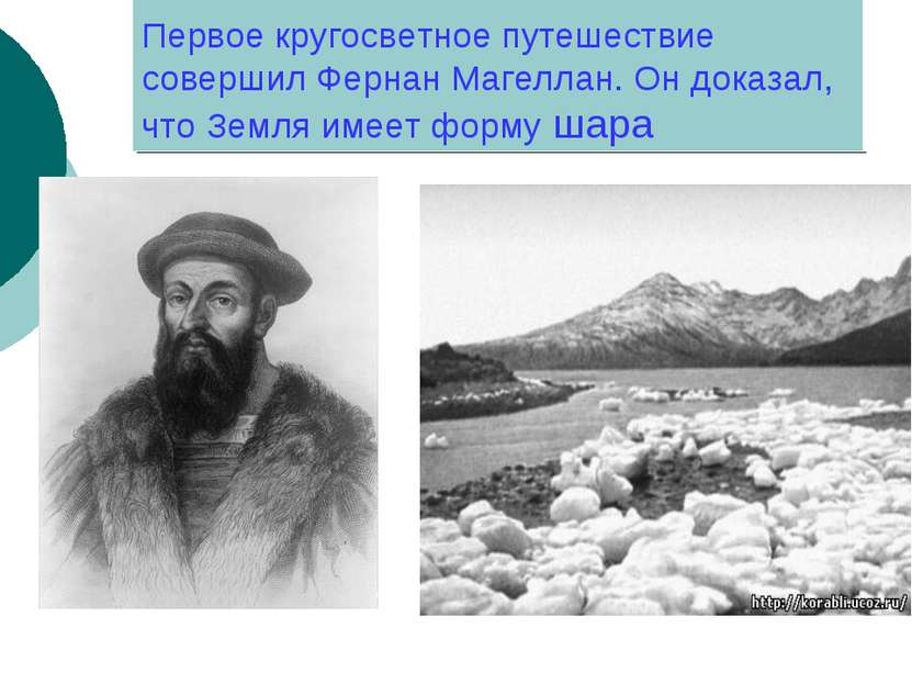 Первое кругосветное путешествие совершил Фернан Магеллан. Он доказал, что Зем...