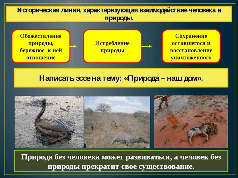 Обожествление природы, бережное к ней отношение Истребление природы Сохранени...