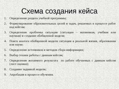Схема создания кейса Определение раздела учебной программы; Формулирование об...