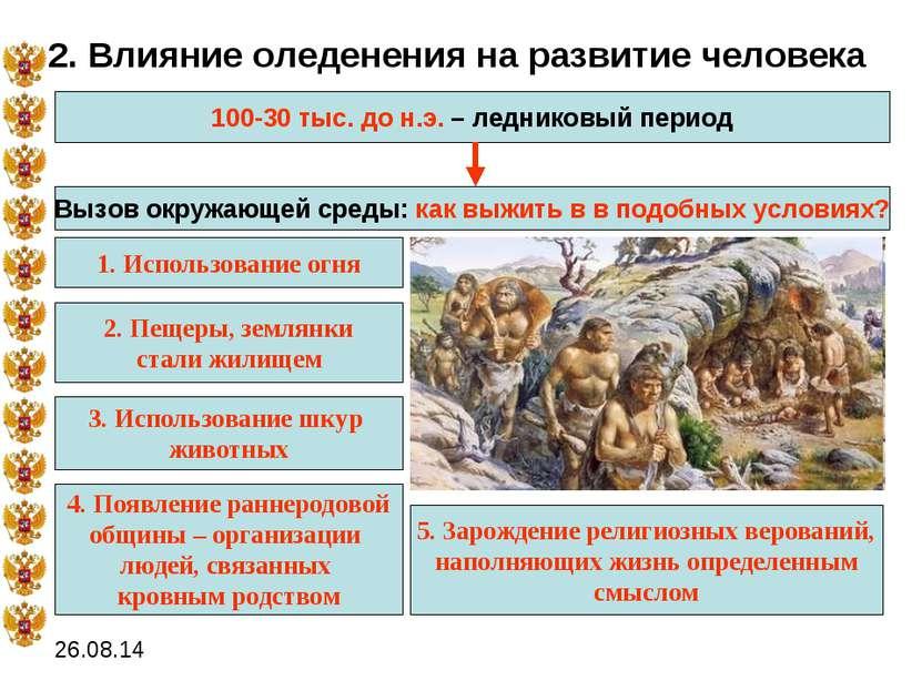 2. Влияние оледенения на развитие человека 100-30 тыс. до н.э. – ледниковый п...