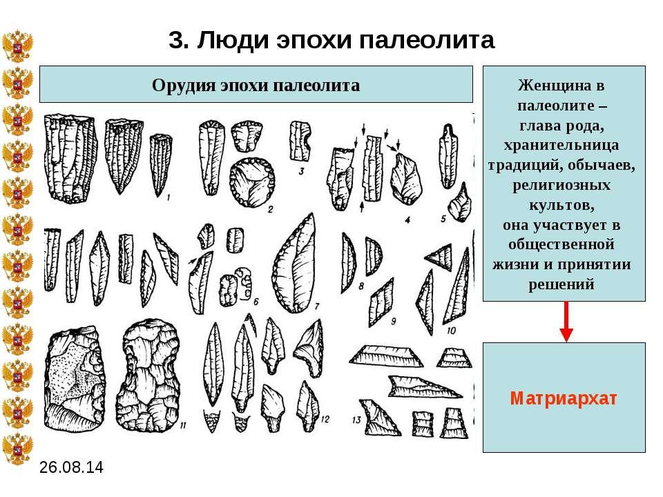 3. Люди эпохи палеолита Орудия эпохи палеолита Женщина в палеолите – глава ро...