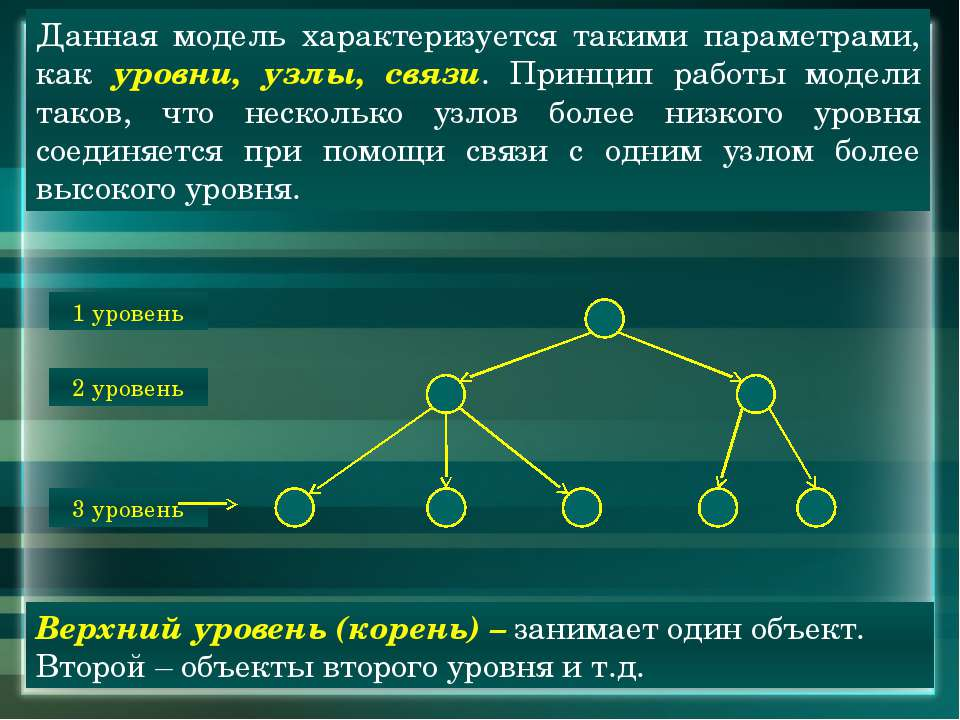 Данная модель характеризуется такими параметрами, как уровни, узлы, связи. Пр...