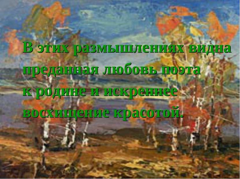 В этих размышлениях видна преданная любовь поэта к родине и искреннее восхище...