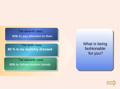 What is being fashionable for you? The seventh class The tenth class The elev...