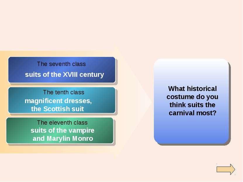 What historical costume do you think suits the carnival most? The seventh cla...