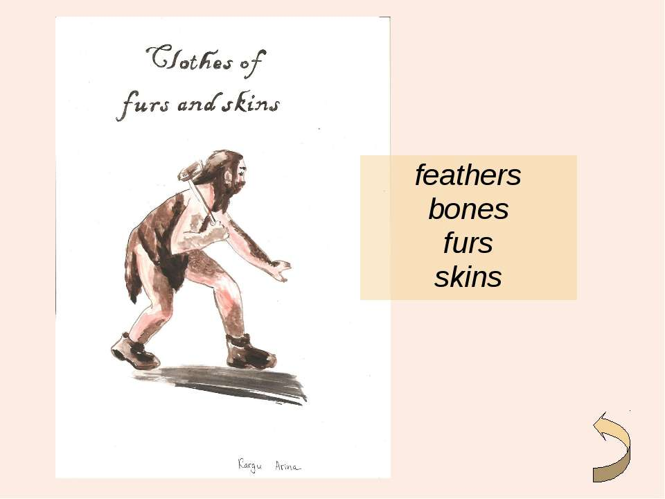 feathers bones furs skins