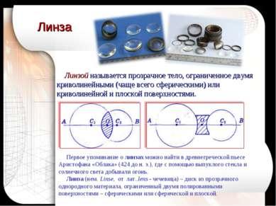 Линзой называется прозрачное тело, ограниченное двумя криволинейными (чаще вс...