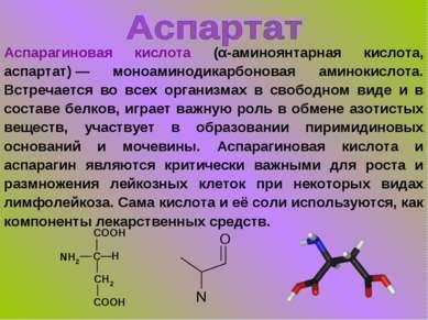 Аспарагиновая кислота (α-аминоянтарная кислота, аспартат)— моноаминодикарбон...
