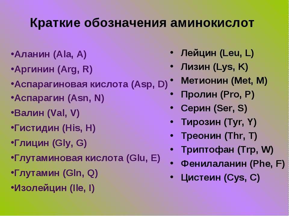 Краткие обозначения аминокислот Аланин (Ala, A) Аргинин (Arg, R) Аспарагинова...