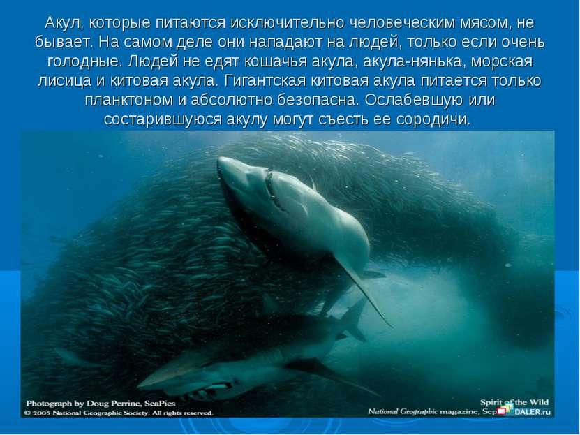 Акул, которые питаются исключительно человеческим мясом, не бывает. На самом ...