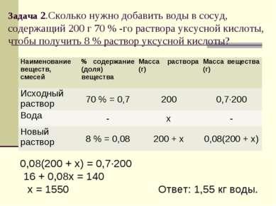 Задача 2.Сколько нужно добавить воды в сосуд, содержащий 200 г 70 % -го раств...