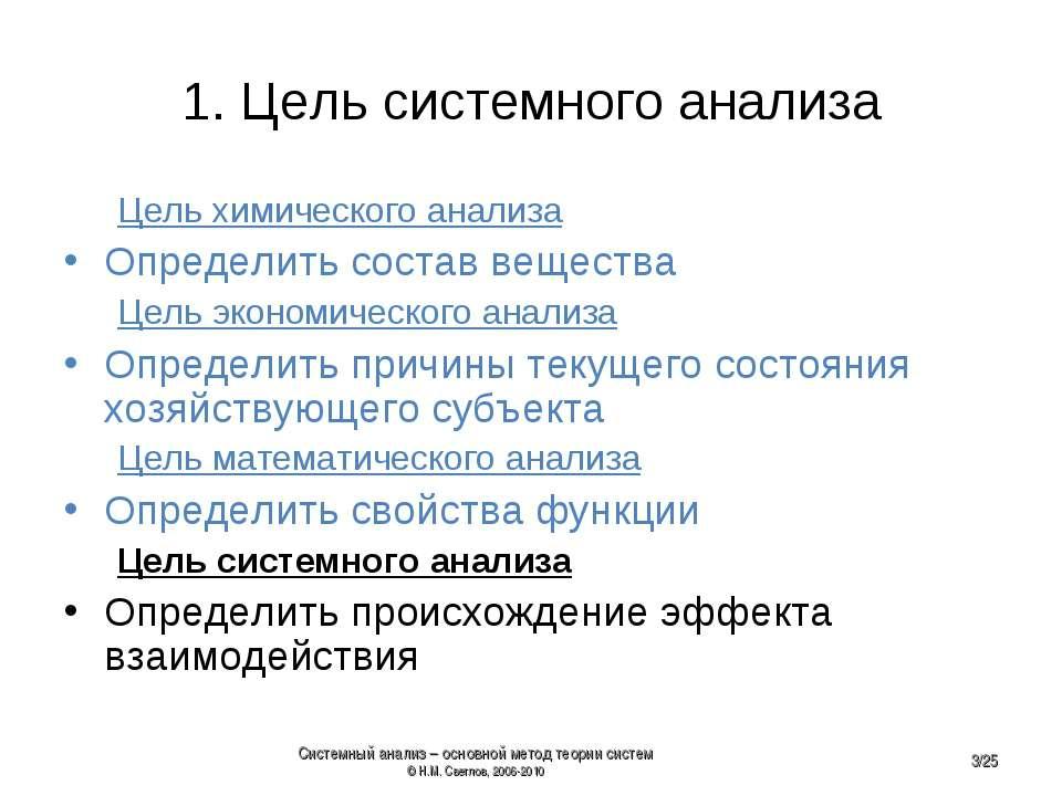 1. Цель системного анализа Цель химического анализа Определить состав веществ...