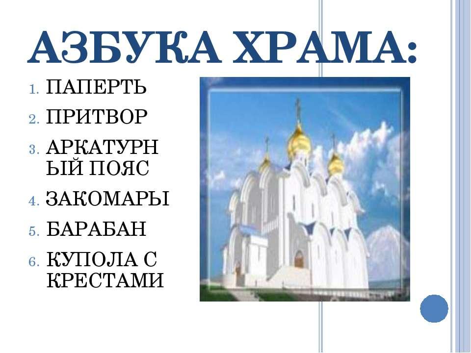 АЗБУКА ХРАМА: ПАПЕРТЬ ПРИТВОР АРКАТУРНЫЙ ПОЯС ЗАКОМАРЫ БАРАБАН КУПОЛА С КРЕСТАМИ