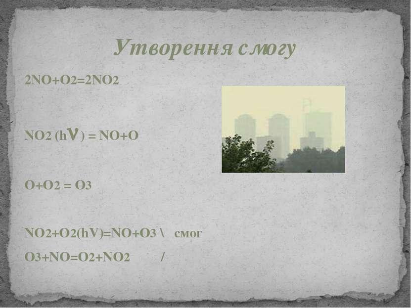 Утворення смогу 2NO+O2=2NO2 NO2 (h ) = NO+O O+O2 = O3 NO2+O2(hV)=NO+O3 \ смог...