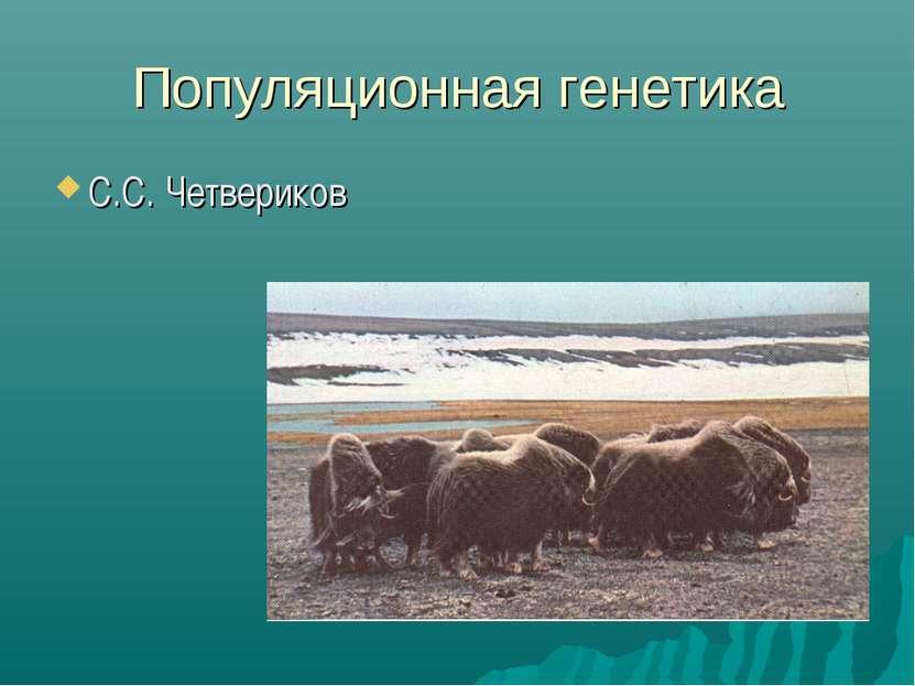 Популяционная генетика С.С. Четвериков