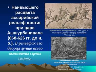Наивысшего расцвета ассирийский рельеф достиг при царе Ашшурбанипале (668-626...