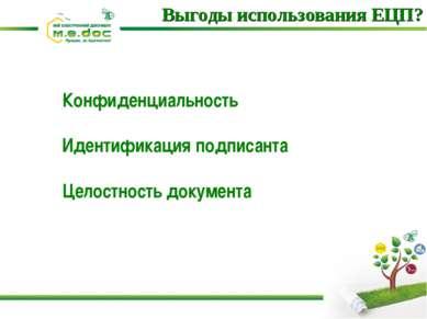 Конфиденциальность Идентификация подписанта Целостность документа Выгоды испо...