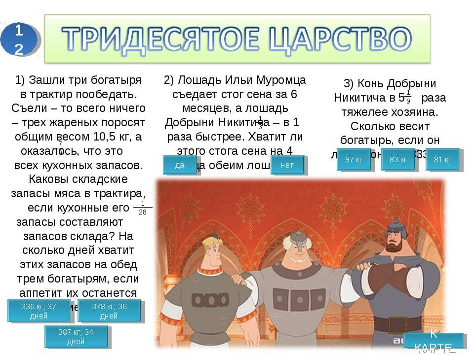 К КАРТЕ 1) Зашли три богатыря в трактир пообедать. Съели – то всего ничего – ...
