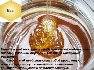 Пчелины мед продукт, вырабатываемый медоносными пчелами главным образом из не...