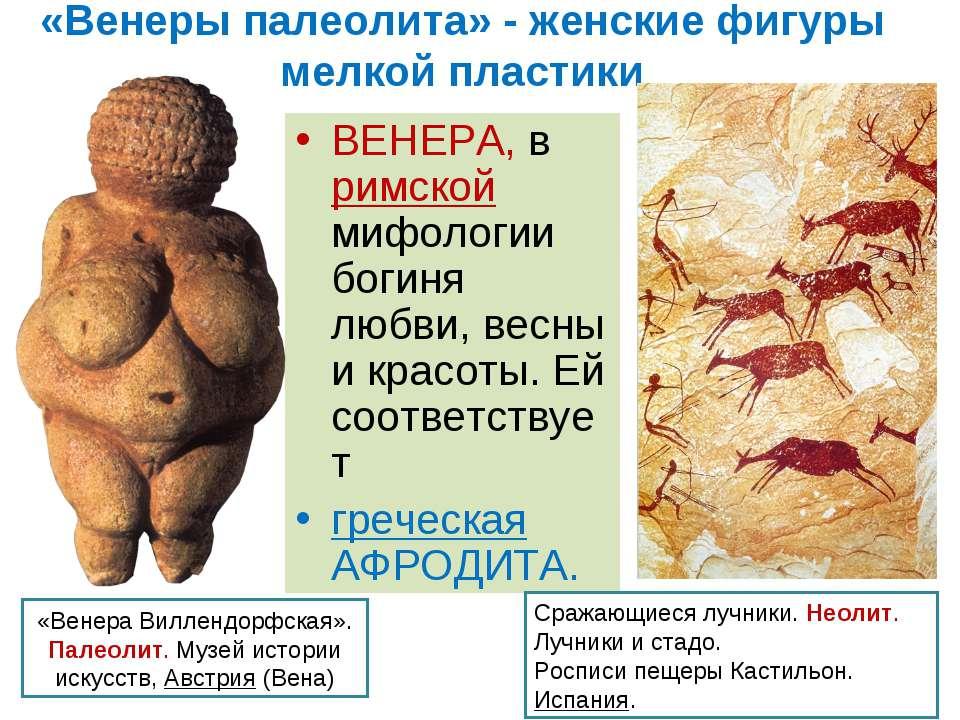 «Венеры палеолита» - женские фигуры мелкой пластики ВЕНЕРА, в римской мифолог...