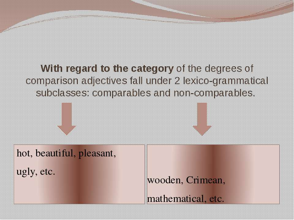 With regard to the categoryof the degrees of comparison adjectives fall unde...