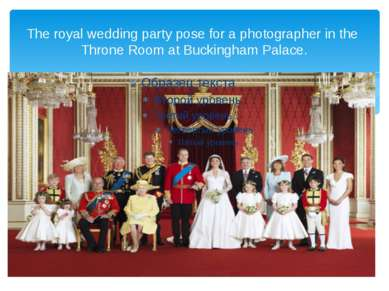 The royal wedding party pose for a photographer in the Throne Room at Bucking...