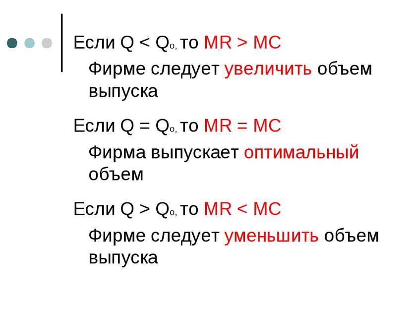 Если Q < Qo, то MR > MC Фирме следует увеличить объем выпуска Если Q = Qo, то...