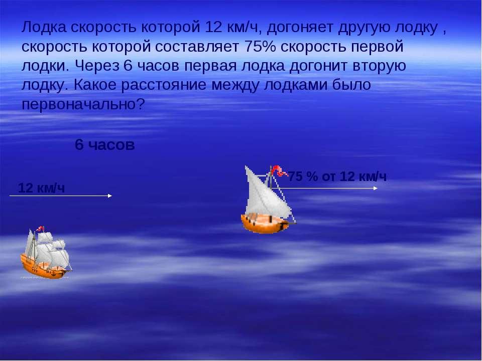 Лодка скорость которой 12 км/ч, догоняет другую лодку , скорость которой сост...