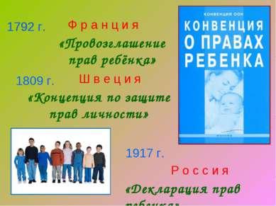 1792 г. 1809 г. 1917 г. Ш в е ц и я «Концепция по защите прав личности» Р о с...