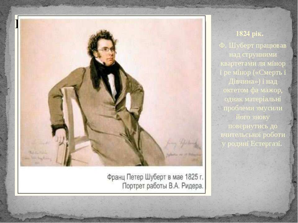 1824 рік. Ф. Шуберт працював над струнними квартетами ля мінор і ре мінор («С...