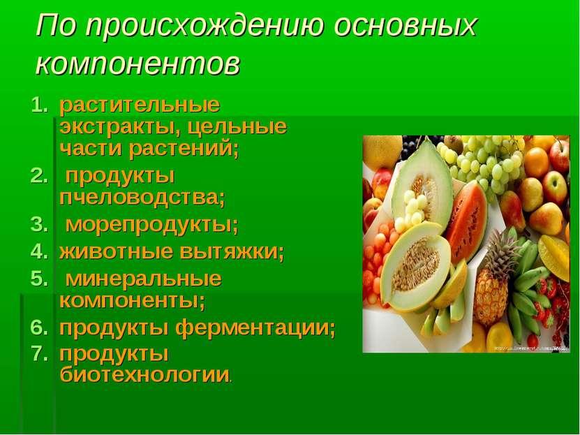 По происхождению основных компонентов растительные экстракты, цельные части р...