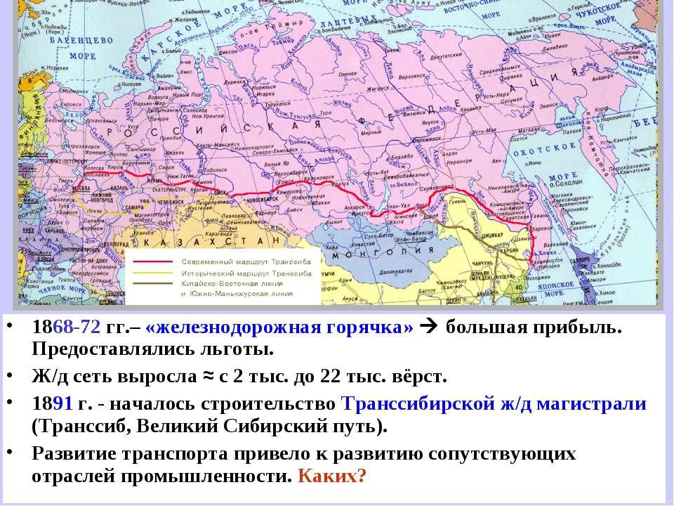 1868-72 гг.– «железнодорожная горячка» большая прибыль. Предоставлялись льгот...