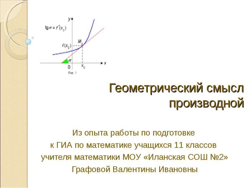 Геометрический смысл производной Из опыта работы по подготовке к ГИА по матем...