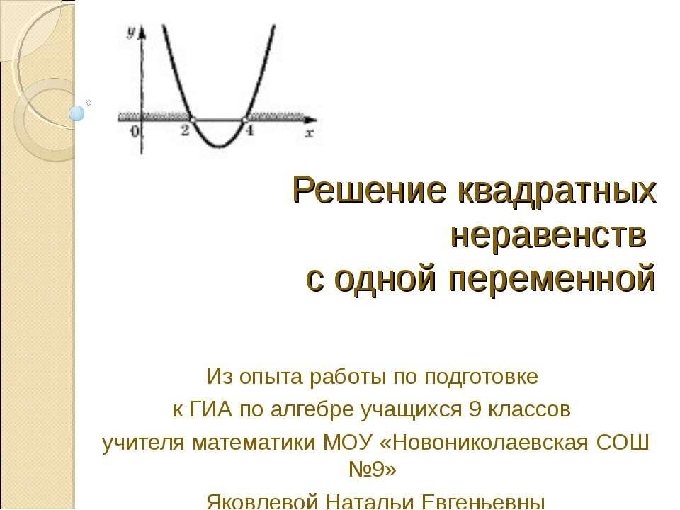 Решение квадратных неравенств с одной переменной Из опыта работы по подготовк...