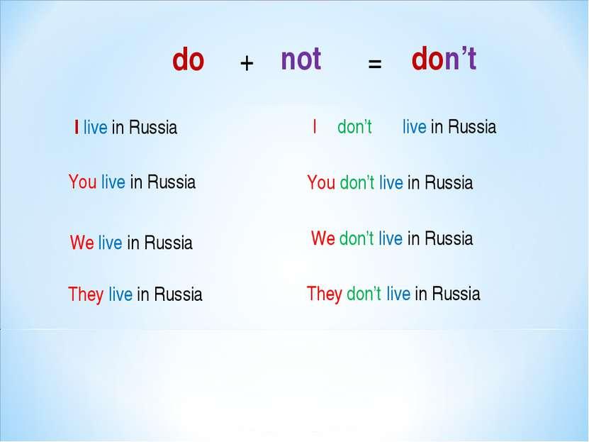 I live in Russia You live in Russia We live in Russia They live in Russia You...