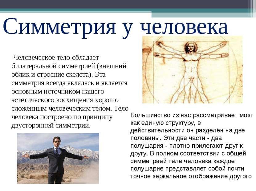 Симметрия у человека Человеческое тело обладает билатеральной симметрией (вне...