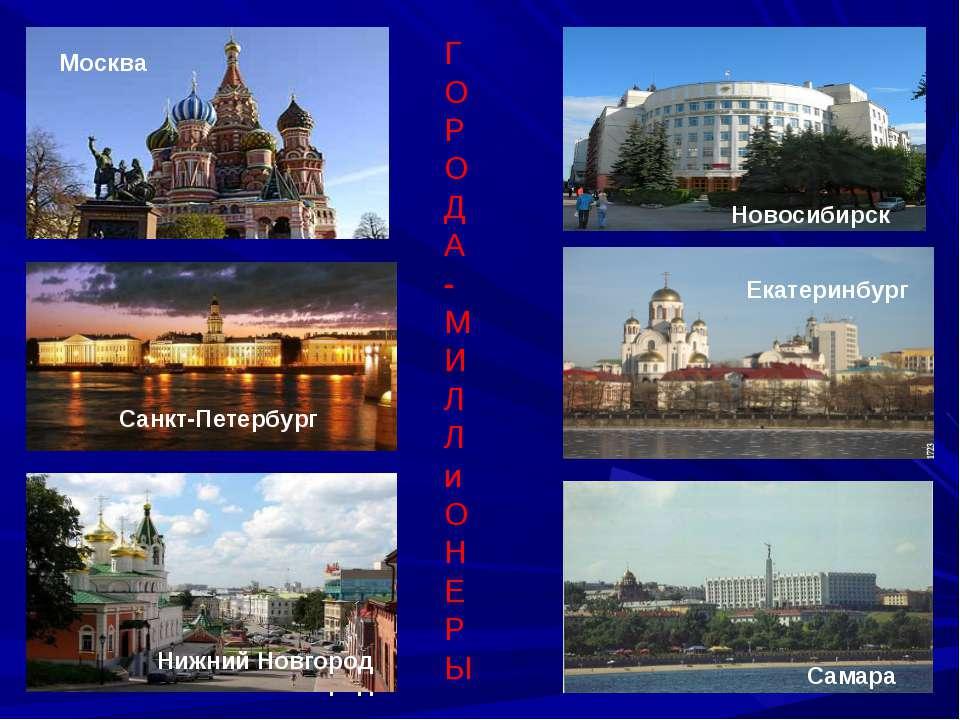 Москва Санкт-Петербург Новосибирск Нижний Новгород Екатеринбург Cамара Г О Р ...