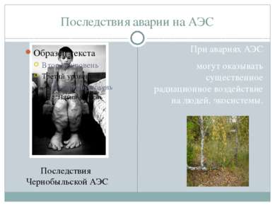 Последствия аварии на АЭС При авариях АЭС могут оказывать существенное радиац...