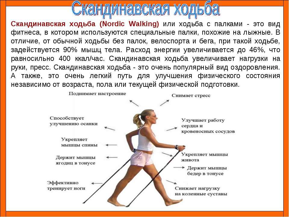 Скандинавская ходьба (Nordic Walking) или ходьба с палками - это вид фитнеса,...