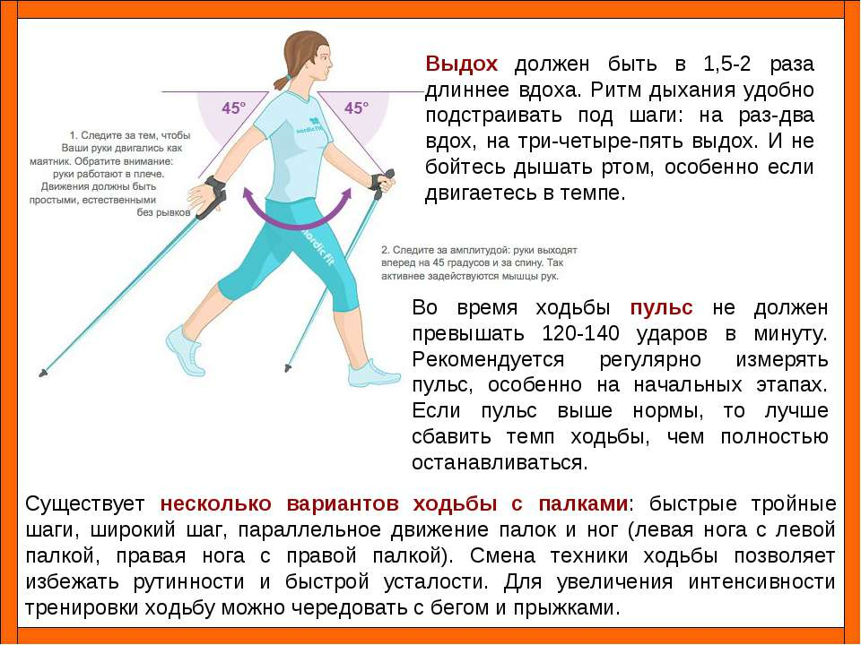 Существует несколько вариантов ходьбы с палками: быстрые тройные шаги, широки...
