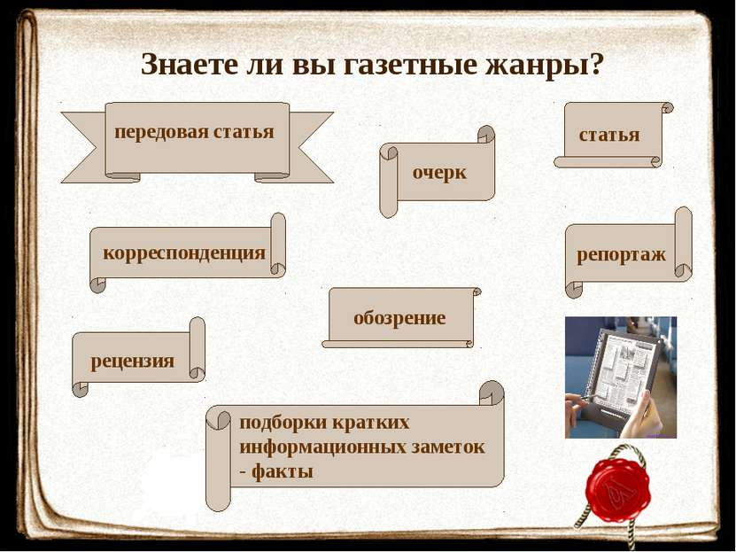 Знаете ли вы газетные жанры?