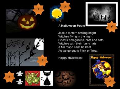 A Halloween Poem Jack-o-lantern smiling bright Witches flying in the night Gh...