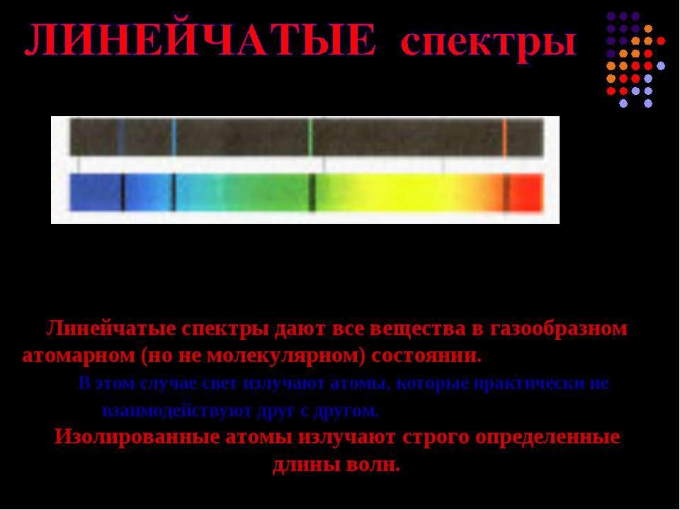 Линейчатые спектры дают все вещества в газообразном атомарном (но не молекуля...