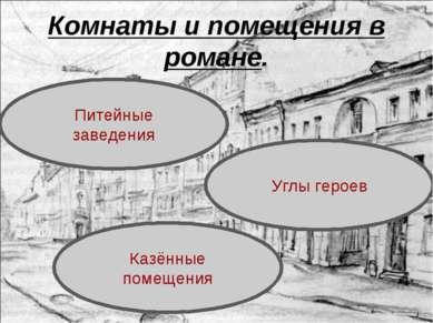 Комнаты и помещения в романе. Казённые помещения Питейные заведения Углы героев