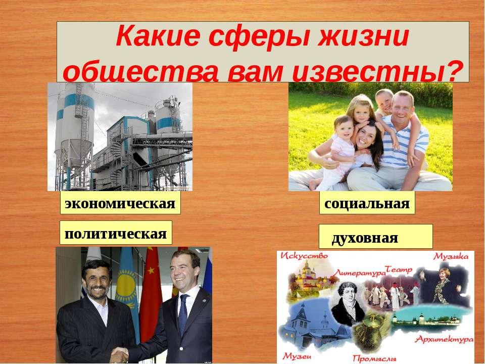 Какие сферы жизни общества вам известны? социальная экономическая духовная по...