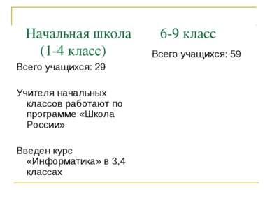 Начальная школа 6-9 класс (1-4 класс) Всего учащихся: 29 Учителя начальных кл...
