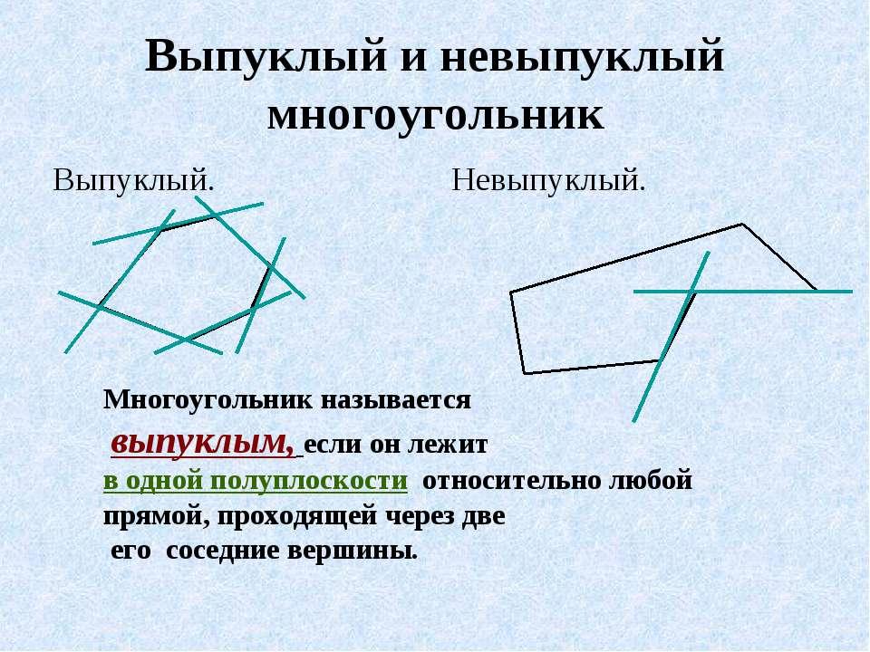 Выпуклый и невыпуклый многоугольник Выпуклый. Невыпуклый. Многоугольник назыв...