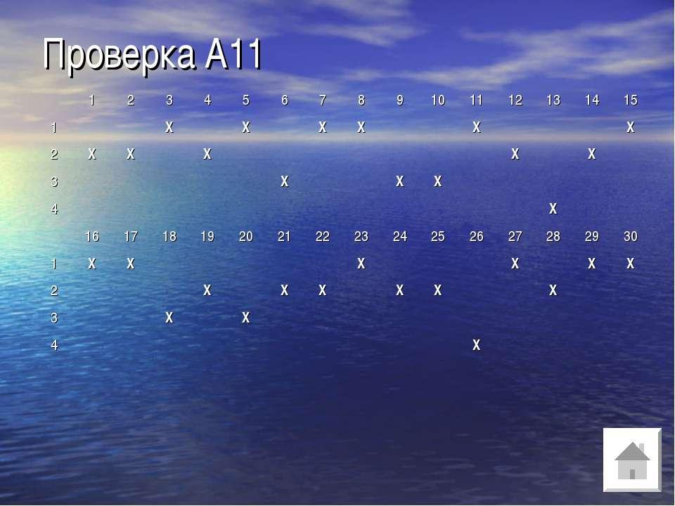Проверка А11 1 2 3 4 5 6 7 8 9 10 11 12 13 14 15 1 Х Х Х Х Х Х 2 Х Х Х Х Х 3 ...