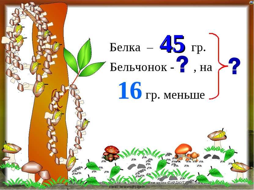 45 Белка – гр. Бельчонок - , на 16 гр. меньше Лазарева Лидия Андреевна, учите...